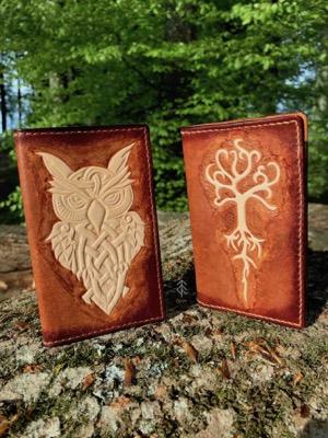 porte-cartes hibou arbre cuir