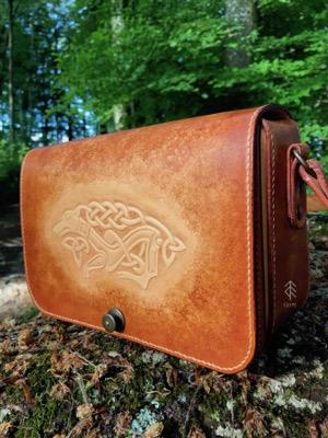 sac chien celtique cuir